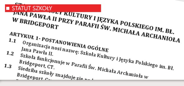 Statut Szkoły Kulturu i Języka Polskiego w Bridgeport